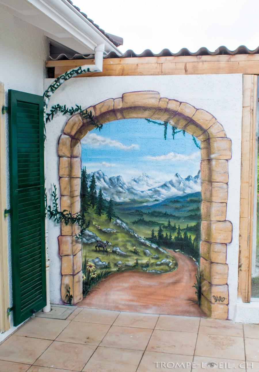 Chemin de montagne lausanne d coration trompe l 39 oeil for Decoration trompe l oeil